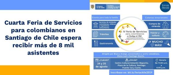 Cuarta Feria de Servicios para colombianos en Santiago de Chile espera recibir más de 8 mil asistentes