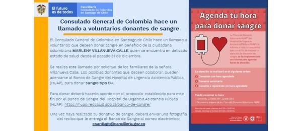 El Consulado de Colombia en Santiago de Chile hace un llamado a donantes de sangre